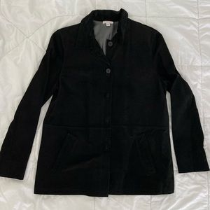 New Frontier Black Suede Shirt Jacket Button Down